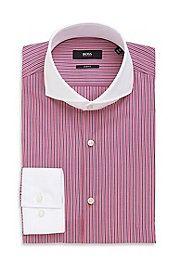'Johan' | Slim Fit, Extreme Spread Contrast Collar Cotton Dress Shirt #bossblack