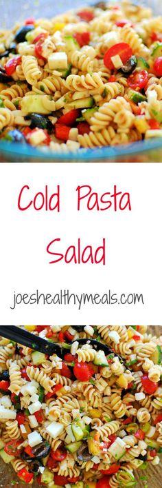 Cold pasta salad - super easy but delicious salad recipe! | joeshealthymeals.com