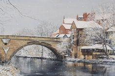 A snowy day in Durham by Artist Linda Vine — Linda Vine Art River Bank, Snowy Day, Snow Scenes, Durham, Vines, Artist, Painting, Artists, Painting Art