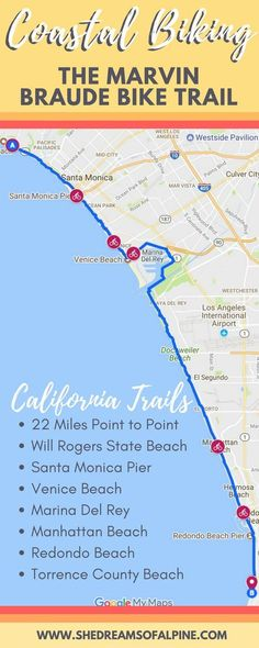 California Coastal Bike Riding - The Marvin Braude Bike Trail   | This bike trail extends 22 miles point to point along some of Californias best coastline, and you can experience Californias best beaches all from the seat of your bike! Explore Venice beach, Marina Del Rey, Manhattan Beach, Santa Monica Beach, Redondo Beach, and more all on the amazing bicycle ride!| shedreamsofalpine.com