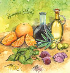 June flyer cover, watercolor food illustration