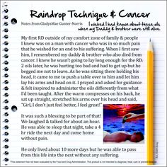 Raindrop Technique & Cancer - How we use our amazing Young Living Oils www.theamazingway.com Thank you to Dolf Cheng for his Fab graphics