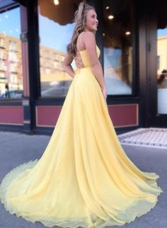 Simple yellow long prom dress, yellow evening dress, Customized service and Rush order are available Simple prom dresses Poofy Prom Dresses, Princess Prom Dresses, A Line Prom Dresses, Dance Dresses, Pretty Dresses, Beautiful Dresses, Formal Dresses, Wedding Dresses, Yellow Wedding Dress