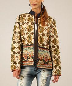 Look what I found on #zulily! Ecru & Navy Arabesque Quilted Jacket #zulilyfinds