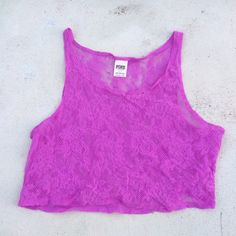 "Victoria Secret Pink - Neon Purple Lace Crop Top Super light and perfect for summer! See thru. Armpit to armpit approx. 38"". Lightly worn- on great condition. Victoria's Secret Tops Crop Tops"