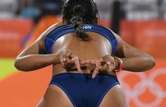 DAY 1:  Women's  Beach Volleyball - Venezuela vs the Netherlands - Noriseth Agudo of Venezuela