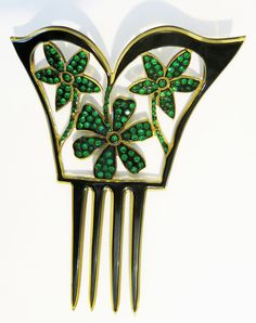 Antique Celluloid Hair Comb with Floral Design   eBay