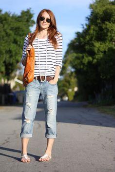 stripe shirt  boyfriend jeans.