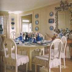 """A cream room with blue-and-white ceramics is a classic recipe,"" said Mark Hampton in describing his dining room in Southampton. Decor, Cream Dining Room, The Hamptons, Dining Room Design, House Design, Blue Decor, Beautiful Interiors, Cottage Decor, Dining"