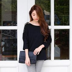 J41254 lacing back hollow out jacquard weave tops [J41254] - $9.47 : China,Korean,Japan Fashion clothing wholesale and Dropship online-Be the most beautiful Lady