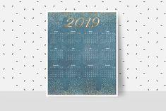 New Year Calendar, Print Calendar, Calendar 2020, Vintage Calendar, Desk Calendars, Weekly Planner, Paper Goods, Digital Prints, Office Supplies