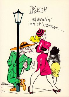 LI'L ABNER by AL CAPP. 'KEEP standin' on th' corner… That's JES where yo' belongs… yo' NOGOODNIK!' Specialty art series' set of 15 1950's vintage greeting cards by FRANK FRAZETTA as assistant to Al Capp. In the comic strips, Al Capp would always write the story, create the rough drafts, & ink the face & hands of his characters. Superior Greetings Co. (Minkshmink collection) (please follow minkshmink on pinterest) #lilabner #alcapp #frankfrazetta #zootsuit