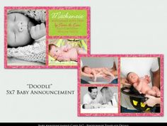 Doodle – Baby Announcement Photoshop Template | Album templates, logos and photoshop actions for photographers