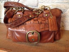 COACH RARE Vintage Woven Leather Tattersall Whiskey Bleecker Satchel Bag 12417 #Coach #ShoulderBag