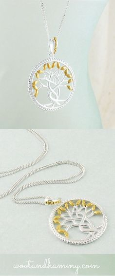 tree of life medallion necklace in sterling silver with gold leaves.