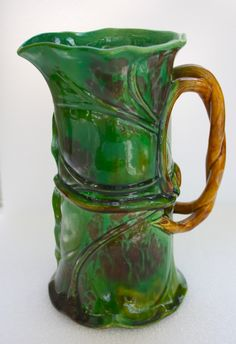 Minton Majolica Tobacco Leaf Pitcher. Majolica International Society image from the Karmason Library.