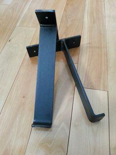 2 Welded Hand forged Shelf Brackets Black by DirtFrogFurniture