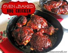 Oven Baked BBQ Chicken + the secret to getting the grill taste cooking it in the oven! | CookingwithK.net