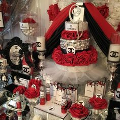 """Coco Chanel Inspired Birthday Party Red Black and Silver Themed Cake Design Ciroc favor bottles Hershey clutch bag favors Hershey's kisses Centerpieces Cupcakes Candles Etc. """"Classy and Fabulous"""" Diamant du Parris Inc. Chanel Birthday Party, Red Birthday Party, Chanel Party, 40th Birthday Parties, Cake Birthday, Red Party Themes, Silver Party Decorations, Birthday Party Decorations, Ideas Party"""
