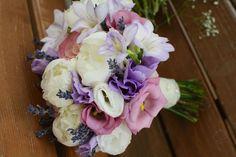 Bouquet of peonies, lisianthus, lavender. Buchet cu bujori, lisianthus, lavanda, frezie. by Purple Effect Events