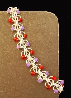 Beaded Chain Mail Red Hat Bracelet by campbellcreation on Etsy, $24.00