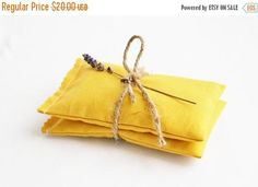 SALE Mustard Yellow Lavender Bags  Scented Drawer Sachets
