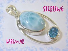 """Larimar - 14 Ct Genuine Blue Larimar - 2"""" Sterling Silver Swiss Blue Topaz Artisan Pendant - Dominican Republic - Perfect Gift FREE SHIPPING by FindMeTreasures on Etsy"""