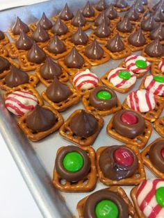 Christmas crunch and pretzel kisses..school party snacks