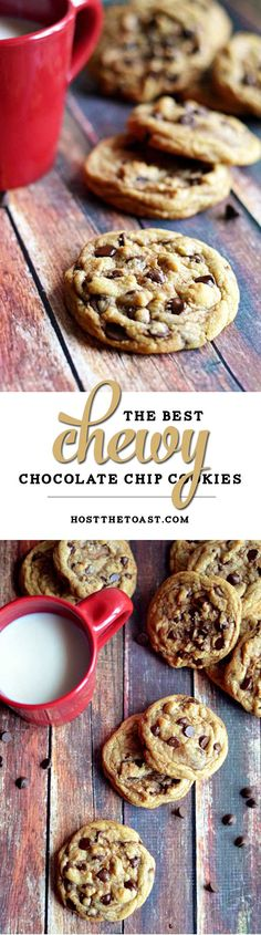 The Best Chewy Café-Style Chocolate Chip Cookies. These are so soft and chewy-- definitely the best chocolate chip cookie I've ever had! | hostthetoast.com