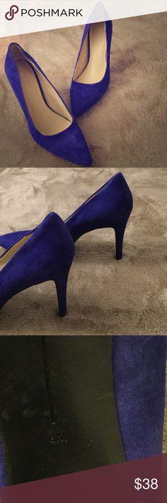 Nine West Heels Royal Blue, Suede,  size 8, barely worn. Approx 3 inch heel. Host Pick ❤️❤️ Nine West Shoes Heels