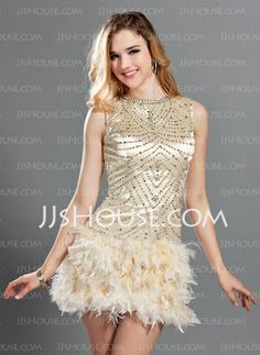 Cocktail Dresses - $182.99 - A-Line/Princess Scoop Neck Short/Mini Charmeuse Feather Cocktail Dress With Beading (016019128) http://jjshouse.com/A-Line-Princess-Scoop-Neck-Short-Mini-Charmeuse-Feather-Cocktail-Dress-With-Beading-016019128-g19128