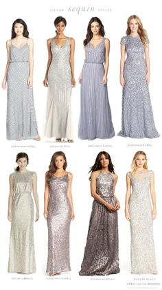 Silver and sequined bridesmaid dresses for weddings. A style idea by Dress for the Wedding for silver sequin mismatched bridesmaid dresses, or sequin gowns for bridesmaids to wear. Metallic Bridesmaid Dresses, Bridesmaids And Groomsmen, Wedding Bridesmaid Dresses, Sparkly Bridesmaids, Bridesmaid Inspiration, Wedding Inspiration, Wedding Ideas, Silver Dress, Silver Sequin