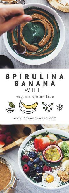 Banana Spirulina Whip, a Simple and Healthy Breakfast. #vegan #highcarb #lowfat