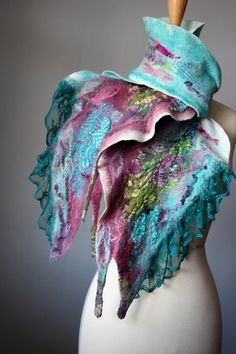 Nuno felted Art scarf  wool silk Mauve Aquamarine  by VitalTemptation