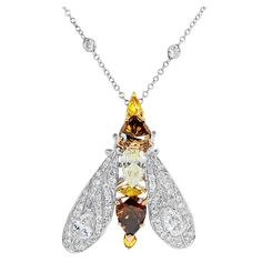 Natural Colored Diamond Insect Pendant