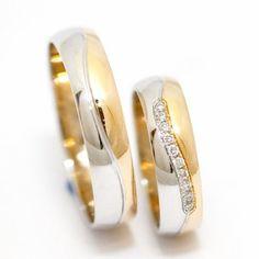 Obrączki ślubne dwukolorowe z diamentami BM Rzeszów