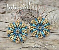 """""""Mandala"""" earrings pattern, Rulla Superduo bead pattern by BeadedTreasury"""
