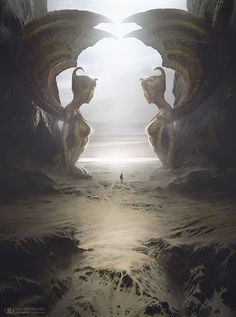 Reminds me of the never ending srory. The Two Sphinxes by artist Tierno Beauregard.