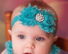 Teal gasto turquesa cabeça Headband Chique Headband do bebê recém-nascido cabeça headband da flor menina tiara