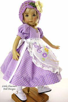 Fits Effner, Effner Little Darling, my meadow, Dress, Pinafore.  LittleCharmers #LittleCharmersDollDesigns