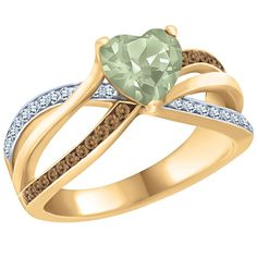 Green Amethyst and Diamonds, 10k Gold Ring featuring Natural Brown Diamonds