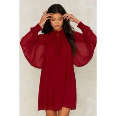 Nasty Gal Winnie Bell Sleeve Dress (£76) ❤ liked on Polyvore featuring dresses, red, nasty gal dresses, red button down dress, flared sleeve dress, nasty gal and sleeved dresses