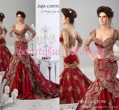 Luxury 2015 Sheer Crystal Red Formal Wedding Dresses Lace Applique Mermaid Ball Gown 3/4 Long Sleeve Two Pieces Arabic Jajja Couture Dress Online with $209.43/Piece on Beautiful_wedding's Store   DHgate.com