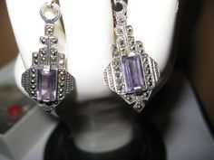 Dangle Amethyst 925 Sterling Silver by ExcellentHodgePodge on Etsy, $20.00