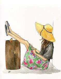 Summer vacation travel wanderlust inspired watercolor   painting by BK Designs - www.beccakitchens.com