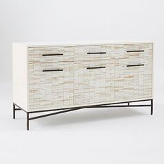 Wood Tiled Media Console #westelmanother option for living room cabinets. Door would have to be open to read remote.