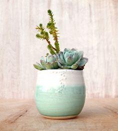Mint Stoneware Planter