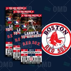 2.5x6 Boston Red Sox Sports Party Invitation, Deter Sports Tickets Invites, Beantown Baseball Birthday Theme Party Template by #sportsinvites