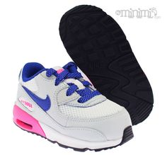 size 40 df8a9 c16ee Nike Air Max 90 - baskets enfant - Gris, rose et bleu La Nike Air