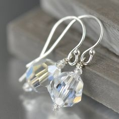 Last minute bridal jewelry. Sparkling Swarovski crystal earrings on Sale